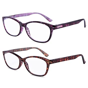 e91690f3d5c9 EYEGUARD High Magnification Power 2 Pairs Spring Hinge Reading Glasses  Ultra Clear Women Readers(+