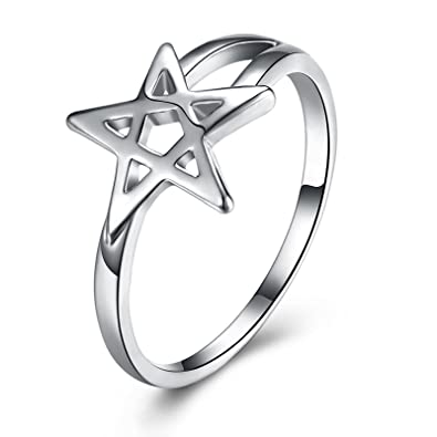Bishilin Alloy Ring For Women Men Hollow Star Shaped Anniversary