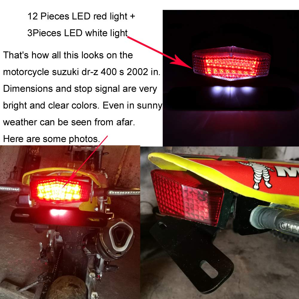 Smoke LED Motorcycle Brake Tail Turn Signal License Plate Integrated Light I
