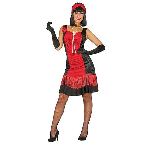 32d82b7dcfcb Costume da Donna Anni Venti Vestito da Charleston Nero e Rosso M 42/44 Abito