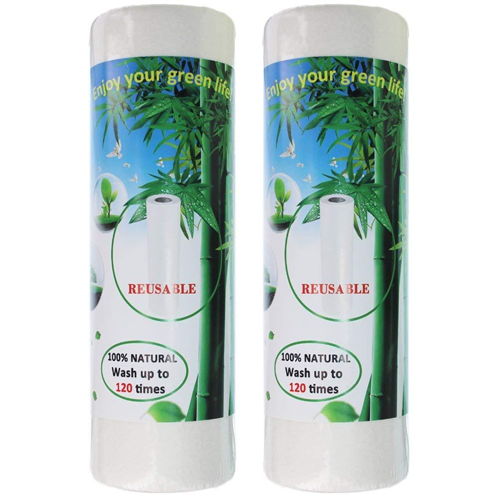 LuLyL - Toallas de Papel de bambú Lavables (2 Rollos, 40 Hojas, Reutilizables y Lavables a máquina), diseño de rayón: Amazon.es: Hogar