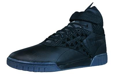 Reebok Classic Exo Fit Hi Clean PM INT Zapatillas de Cuero para hombres-Black-