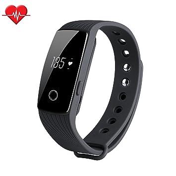 Amazon.com : Fitness Tracker & Heart Rate Monitor, ID107 Bracelet ...