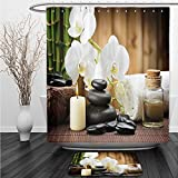 Vipsung Shower Curtain And Ground MatSpa Decor Asian Spa Style with Zen Stones Candle Flowers and Bamboo White Green and BlackShower Curtain Set with Bath Mats Rugs