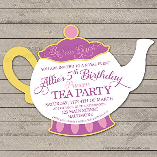 Teapot Princess Birthday Party Invitations Set of 10 Personalized