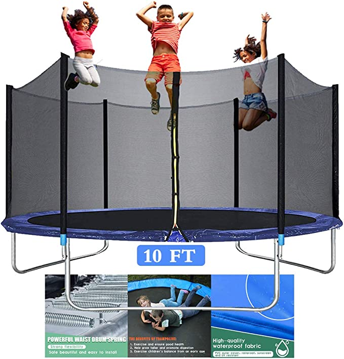 1.4m//55inch Colorful Trampoline with Safety Net,Seaballs,Basketball Hoop Indoor Outdoor Trampoline for Boys Grils Children Toddler Kids Trampoline with Enclosure Net Durable Fitness Trampoline