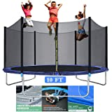 10FT Trampoline for Kids - Outdoor Backyard Trampoline with Safety Enclosure Net Bounding Bed Spring Pad, Exercise Gym Fitnes