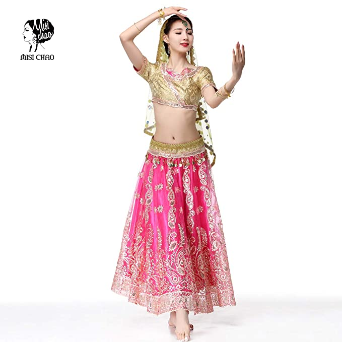 e07f5097864e Amazon.com: Belly Dance Bollywood Costume - Sari Noble Indian Dance Outfit  Halloween Costumes with Head Veil for Women: Clothing