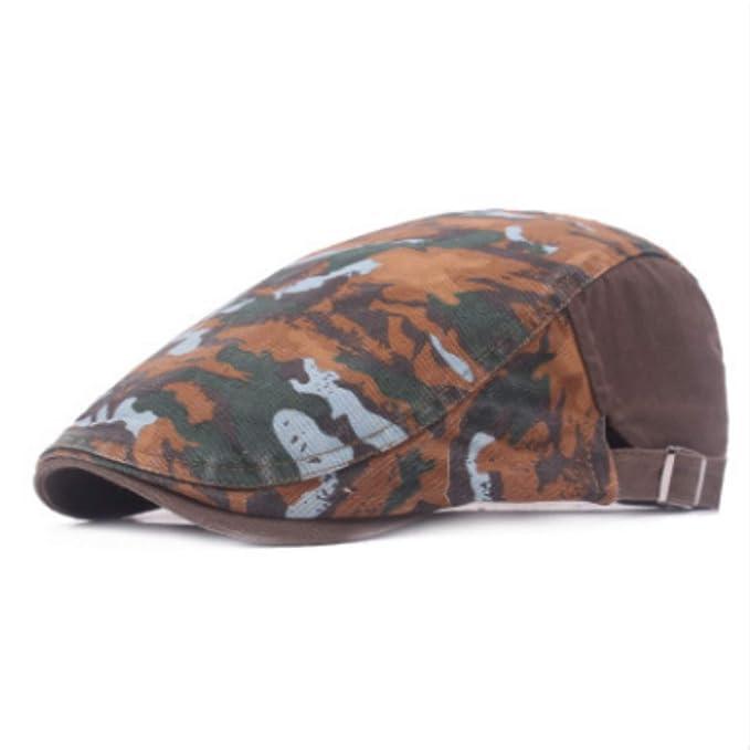 20285b361df26 MEIZOKEN camo Beret Newsboy hat Men Adjustable Cotton Camouflage Flat Cap  Women Outdoor Casual Brim