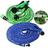 Garden Hose Expanding Expandable Elastic Compact Watering Hose Car Wash Pipe With Spray Gun 25 50 75 100 ft (50ft, Green)