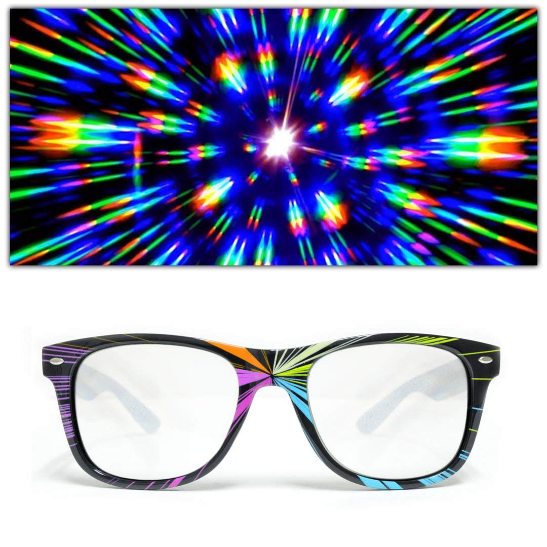 GloFX Starburst Diffraction Glasses - Rave Glasses Lazer Frame Rainbow Laser Prism
