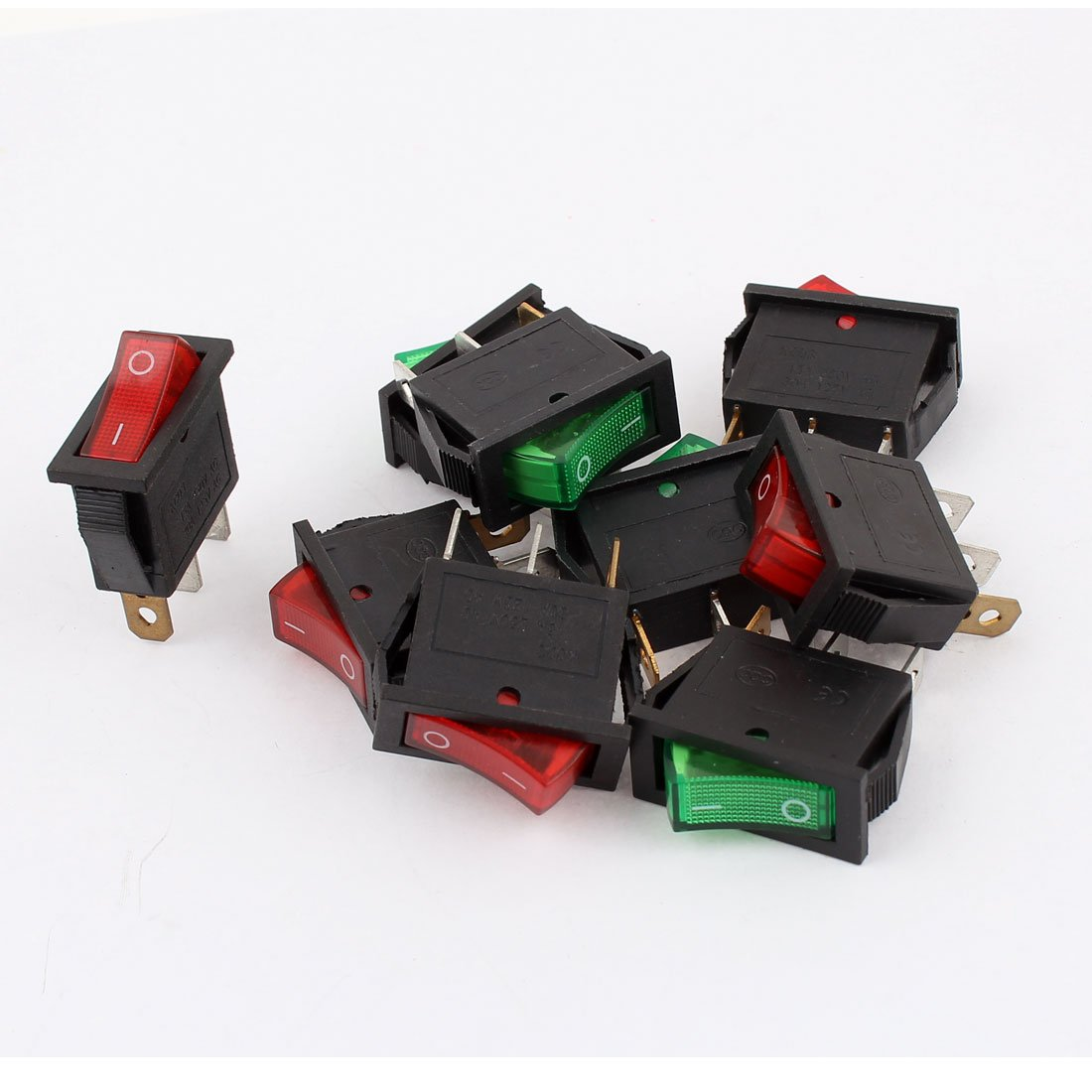 GFORTUN 10pcs Boat Rocker Switch 3 Pin SPST Red Light On//Off Round Snap in Rocker Switches AC 6A//250V 10A//125V for Household Appliances Controlling