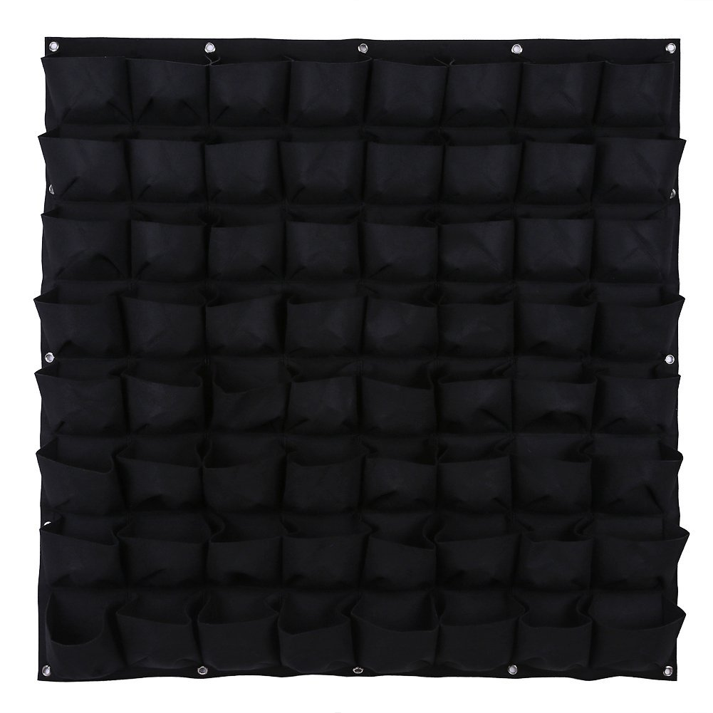 Awakingdemi Hanging Vertical Wall Garden Planter bags, Wall Mount Balcony Plant Grow Pots Container Bags Black (64 Pocket)