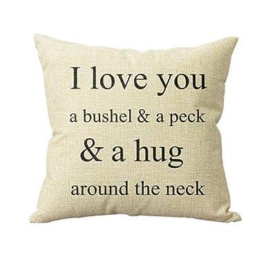 Fossrn Fundas Cojines 45x45 I Love You A Bushel And A Peck Frase Funda de Cojines para Sofa Jardin Cama Decorativo