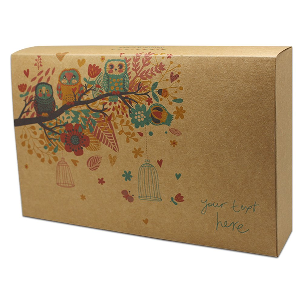 Cardboard Paper Gift Box for Bridal Birthday Wedding Party Supplies Kraft Decorative Paper Baking Take Out Containers Kraft Paper Cupcake Boxes Wrapping Packaging (6.5x9.7+2.0 inch/owl, 80 pcs)