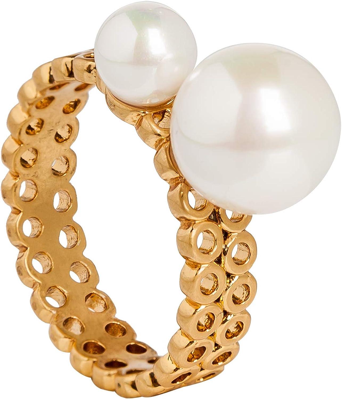 SENCE Copenhagen - Anillo de perlas de agua fresca mate dorado - S7 - L602