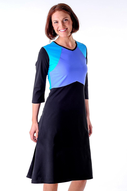 cfac131c30e HydroChic Women s Swim Dress - Modest Swimwear ¾ Length Sleeve Swimsuit  Dress Beach Coverup (Black Periwinkle Seablue) at Amazon Women s Clothing  store