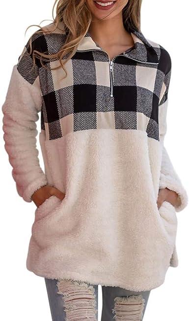 Vectry Camisa Mujer Moda para Mujer Oversize Fluffy Fleece Pocket Sudadera Pullover Outwear S-XXL Camisa Otoño Verano Playa Y Fiesta: Amazon.es: Ropa y accesorios