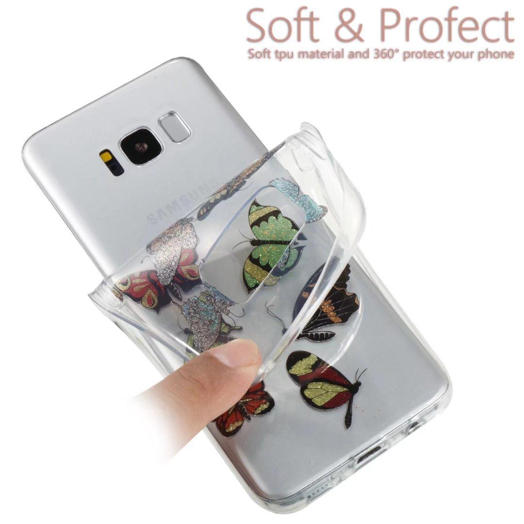 Funda Samsung Galaxy S8 Plus Silicona Espumoso TPU Negro Flor Mariposa Bling Bling Glitter Transparente Super Delgado Suave Carcasa de telefono ...
