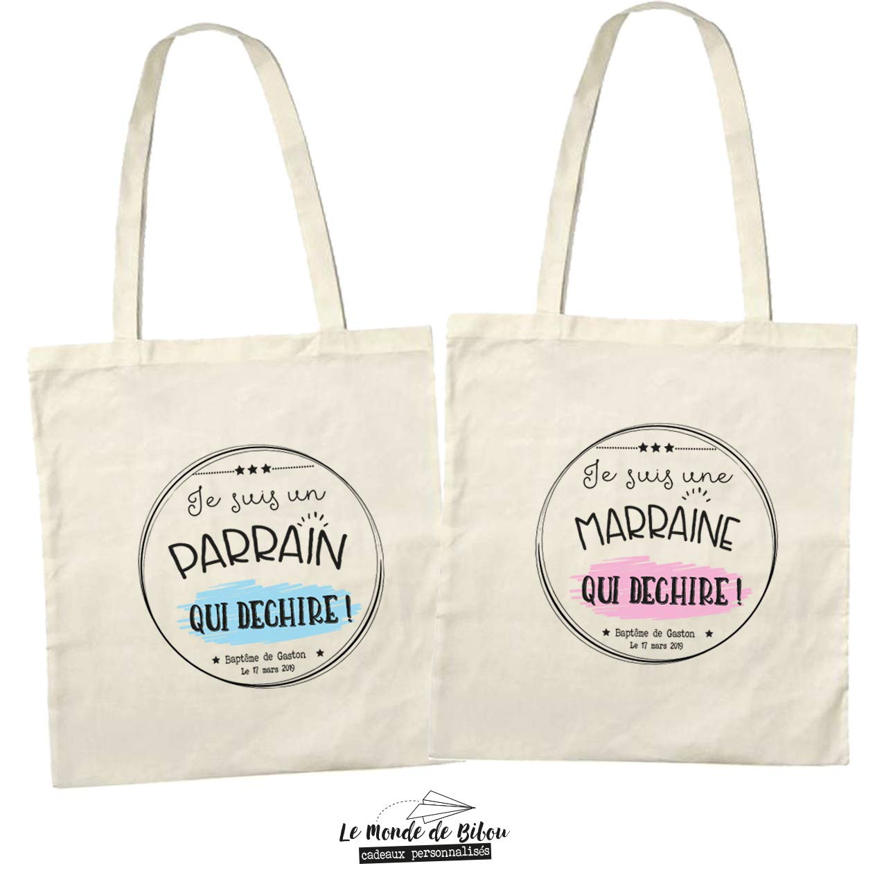 Lot de 2 sacs tote bags personnalisables pour parrain marraine