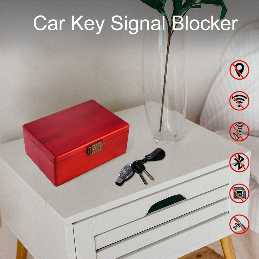 Faraday Box RFID Key Box Car Key Signal Blocker Box Keyless Fob Protector Birch Wood Anti-Theft Keys Safe Storage Case