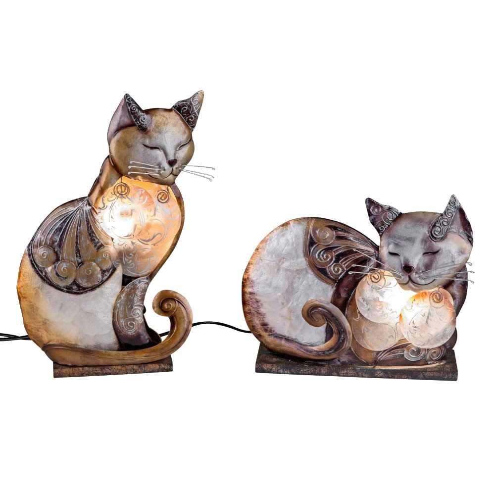 CREAFLOR 2er Set Lampen, Leuchten Muschel Katzen braun beige Formano