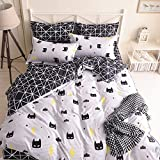 Moon Daughter Batman Pattern Bedding Black & White Duvet Set Quilt Cover Set King Size