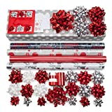 Red + Silver Designer Wrapping Paper Set: 4 Rolls (6 designs) of Premium Gift Wrap (75 sq. ft.) with 30 Coordinated Bows, 5 Ribbons, and 24 Gift Tags with Bonus Euro Tote and Tissue Paper