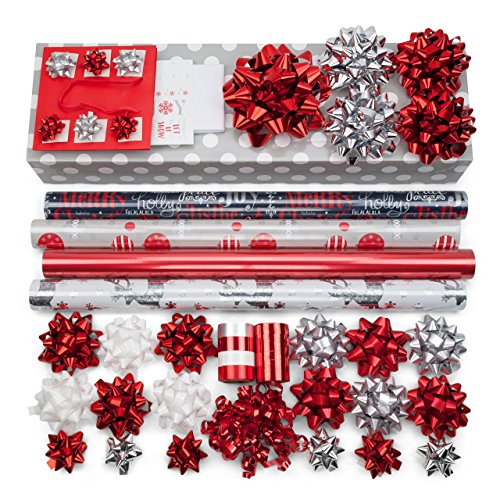 Red + Silver Designer Wrapping Paper Set: 4 Rolls (6...
