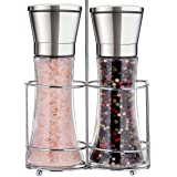 Professional Stainless Steel Salt and Pepper Grinder Set with Stand Manual Spice Adjustable Coarseness with Five Grinding Level Pepper Mill Grinders Shakers Gift Set with Silicone Funnel (Pack of 2)