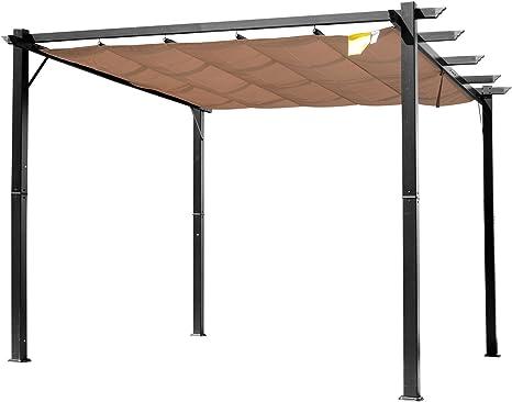 Outsunny - Pérgola de jardín de 3 x 4 m, lona deslizante de poliéster impermeable y estructura de aluminio