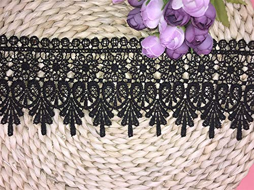 9CM Width Europe Chips Pattern Inelastic Embroidery Lace Trim,Curtain Tablecloth Slipcover Bridal DIY Clothing/Accessories.(2 Yards in one Package) (Black)