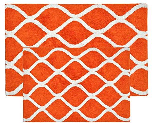 VALUE HOMEZZ Lattice Bath Rugs Size 21 x 34/17 x 24 Non Skid High Absorbency & Durable Machine Washable Bath Mat (Orange) (Rug Orange White And)