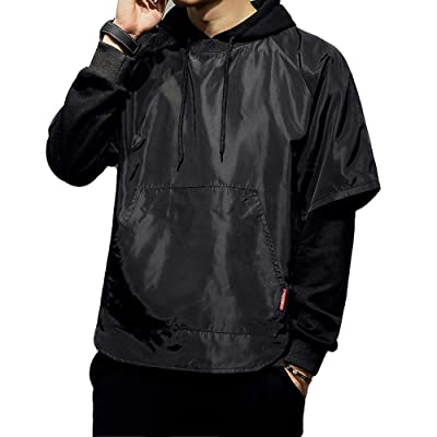 Lisa Pulster レイヤード パーカー プルオーバー メンズ 個性的 重ね着 お揃い ファッション トップス ブラック 長袖
