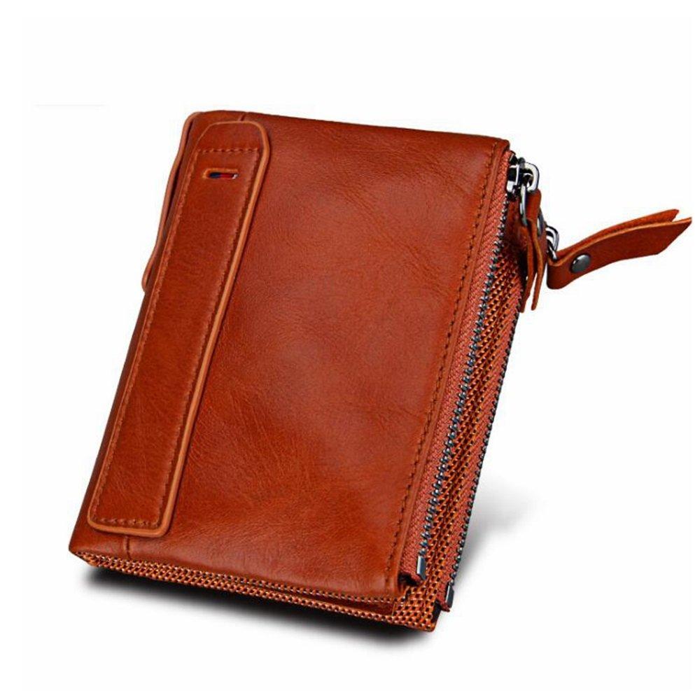 Klerokoh Pequeño Monedero Corto Plegable de Cuero RFID de los Hombres del Caballo Loco de la Vendimia RFID Que bloquea la Cartera (Color : Orange): ...