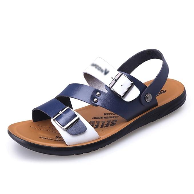 Sandali Da Uomo Estivi Scarpe Da Spiaggia In Pelle Classiche Pantofole Da  Punta Traspiranti Calzature Da Bagno Da Piscina  Antiscivolo a09d5ea9835