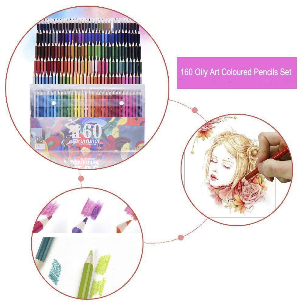 160 lápices de colores, juego de lápices de colores para dibujar, dibujar, pintar, más 4 paquetes de libros de colorear para adultos como regalo extra: ...