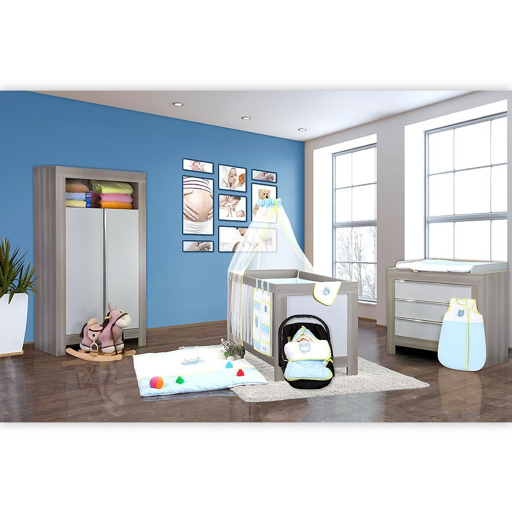 Babyzimmer Felix in akaziengrau 9 tlg. mit 2 türigem Kl. + Set kleine Eule in Blau