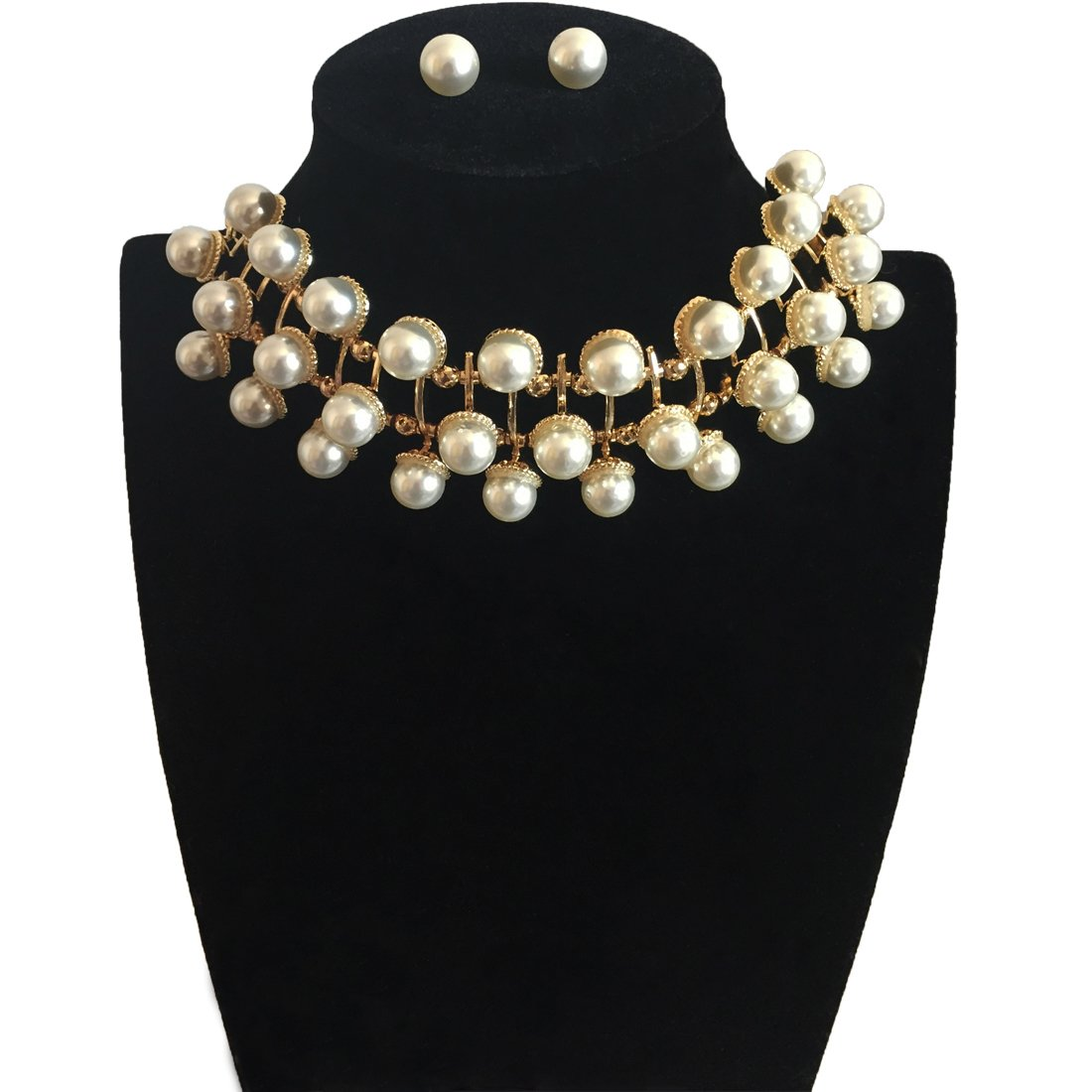 Jewelryheart Fashion 3 Layers Simulated Pearl Gold Chain Necklace Earrings Set For Women Ladies Party Casual