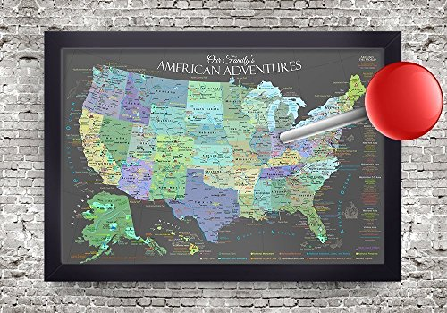 National Parks Push Pin Map - Explore America Map - Slate Edition - Large Framed Map by GeoJango