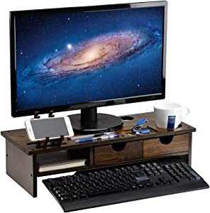 ARTALL Bamboo 2-Tier Monitor Stand Riser with Storage Drawers, Office&Home Shelf Organizer with Laptop Desktop Cellphone Printer Stand, Antique Brown