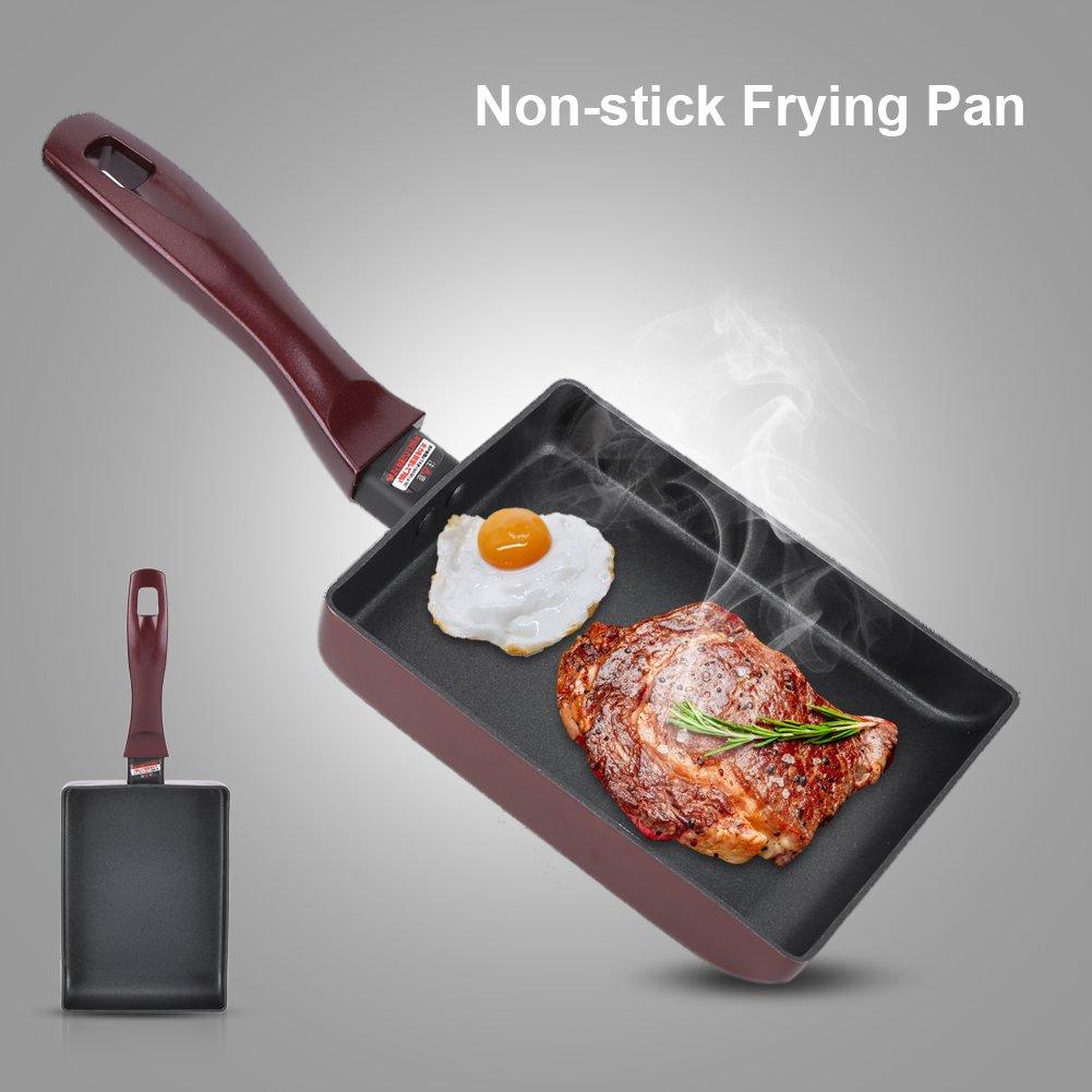Antiadh/ésive Omelette Rectangle Design avec Poign/ée Ergonomique en Silicone Id/éal pour la Friture de L/égumes la Viande /à Rago/ût Po/êle /à frire les Oeufs de Braconnage