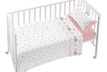 BURRITO BLANCO Juego de Sábanas Infantiles 005 para Maxi Cuna de 70x140 cm de Bebé Algodón 100% Diseño de Animales y Nubes, Rosa: Amazon.es: Hogar