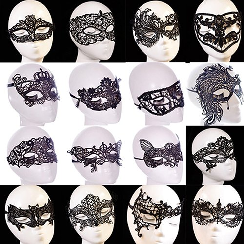 rainbow25 Women Black Lace Butterfly Cat Eye Face Mask Masquerade Party Ball Prom Costume size Design-8 King Crown (Rainbow Butterfly Party Mask)