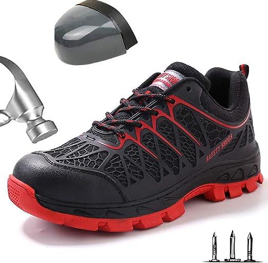 Respirable Zapatos de Seguridad Hombre Punta de Acero Zapatos ...