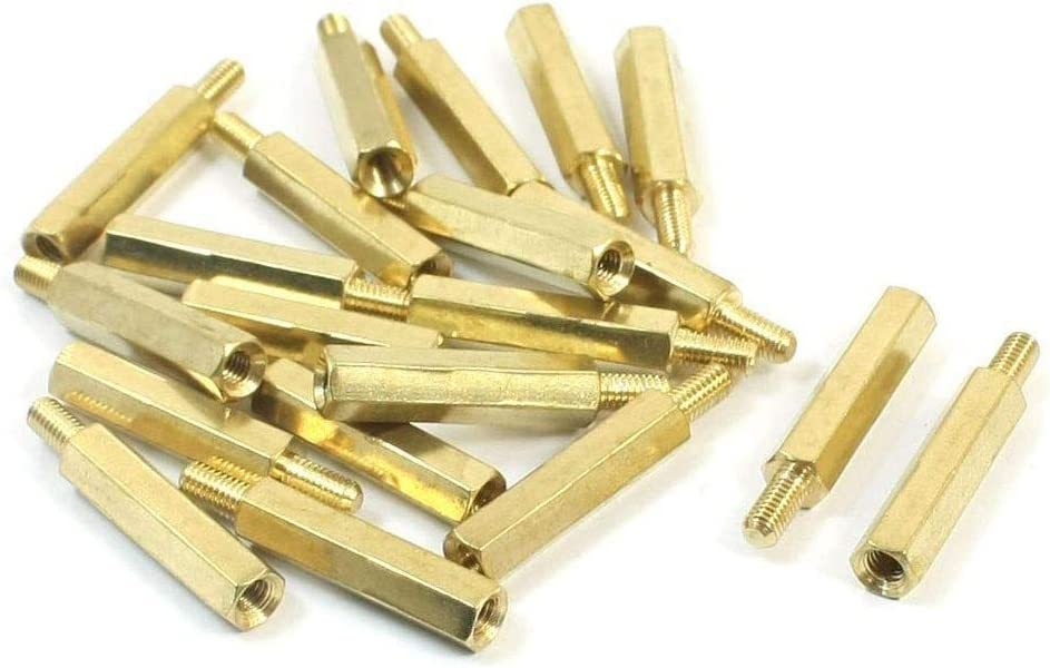 QFDM Universal nut 20 Pcs M3 x 20mm x 26mm Male to Female Hexagon Nut Standoff Spacer Easy to Install Color : Gold