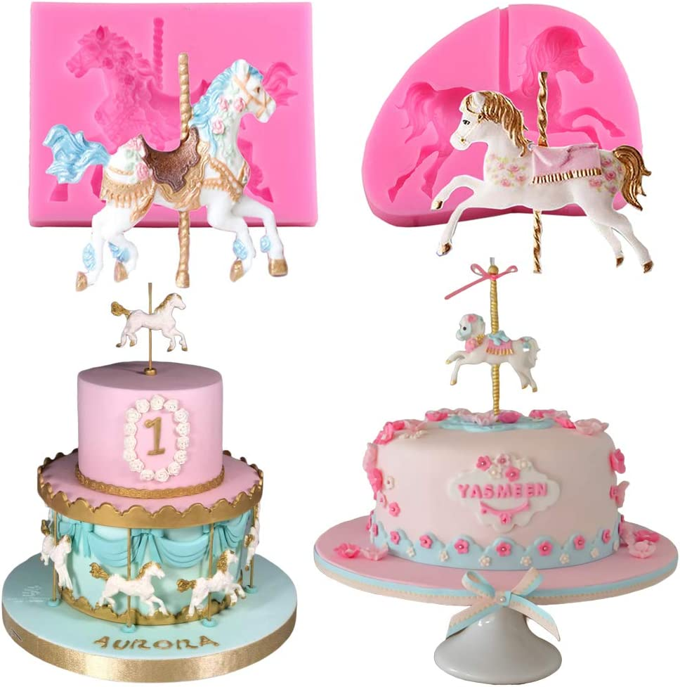 2Pcs/Set Carousel Horse Silicone Cake Fondant Molds Merry-Go-Round Sugar Craft Cupcake Gum Paste Decorating Mold for Carousel Cake Topper Birthday or Baby Shower Decorations Supplies