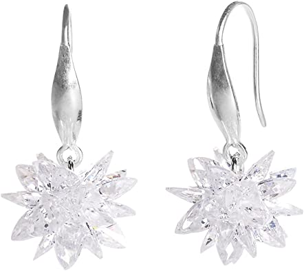 Femmes plaqué or blanc Fleur Zircone Cubique Zircone Cubique Boucles d/'oreilles pendantes bijoux filles