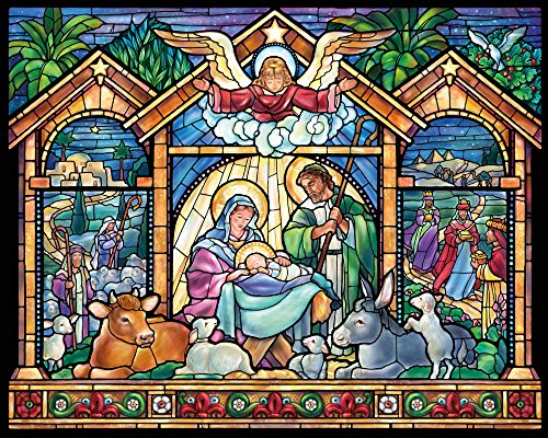 Vermont Christmas Company Stained Glass Nativity Jigsaw Puzzle 1000 Piece]()