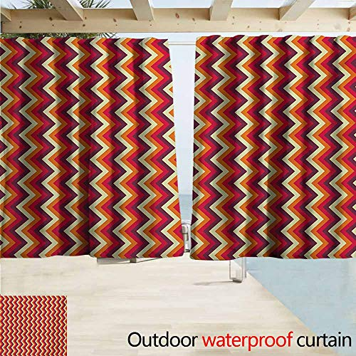 (AndyTours Balcony Curtains,Retro Vintage Zig Zag Chevron Motif in Funky Dynamic Parallel Stripe Graphic,Rod Pocket Energy Efficient Thermal Insulated,W55x39L Inches,Yellow Orange Red Maroon)